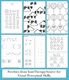 Practice visual motor, visual relationships, visual memory and more with these activities from http://www.yourtherapysource.com/patternsfree.html