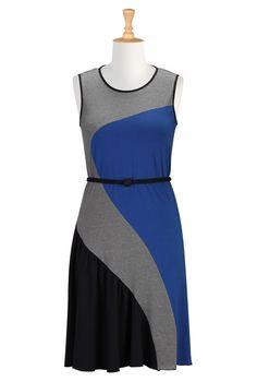Colorblock Stripe Dresses, Casual Cotton Knit Dresses Shop Women's Designer Dresses, Silk Dresses, Black Dresses, Women's Special Occasion Dresses | eShakti.com