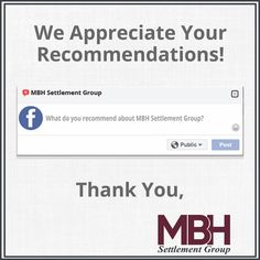 Thank you Thursday!!   Have you closed with our office?  We'd love to hear from YOU!   We've added our Review pages in our profile ☝🏼 Share the love ❤️   #ThankYouThursday #FacebookRecommendations #GoogleReviews #YELPReviews #mbhfred #mbhsettlementgroup #ShareTheLove #TeamMBH Appreciate You, Share The Love, Book Recommendations, Thursday, Appreciation, Profile, Ads, Group, User Profile
