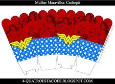 Kit festa infantil mulher maravilha, completo gratuito Hero Girl, Wonder Woman, Crafty, Birthday, Party Kit, Kids Part, Craft, Boxes, Molde