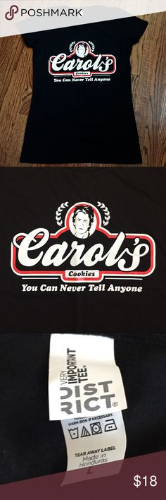"""The walking dead tee shirt with """"Carol's Cookies"""" """"You can never tell anyone"""" as Carol says to the young boy on the show! Great for a walking Dead fan. Size Large Tops Tees - Short Sleeve"""