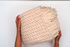 """Happy Spring! Although warmer weather is right around the corner, I'm super excited to share one more FREE, ribbed + fringe DIY knit blanket pattern with you all! The """"Kartopu Tempo"""" yarn used to create this pattern is an incredibly soft, chunky wool-blend, and is absolutely perfect for this cozy handmade project! …"""