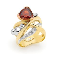 www.eskaejeweller.com.au  18ct yellow, white and rose gold dress ring. I used my clients original 3 diamonds from her engagement ring, and recreated it into this free flowing very fluid design. We used a natural red zircon as the centre stone which represents her love of the land coming from a farming family, this was very important to her.