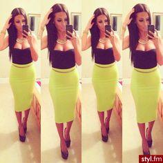 Black heart shaped tube top. Neon yellow midi skirt