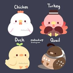 Heres some thicc birds Kawaii Doodles, Cute Kawaii Drawings, Cute Doodles, Cute Animal Drawings, Kawaii Art, Cute Fantasy Creatures, Mythical Creatures Art, Cute Creatures, Cute Kawaii Animals