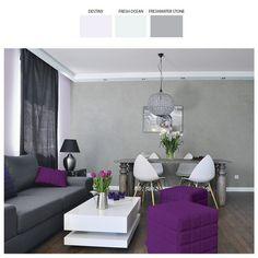 Salon, którego finezyjna kolorystykę gołębiej szarości i liliowego różu przełamują dodatki w zdecydowanych barwach - grafitach i purpurach, to propozycja dla ceniących sobie różnorodność i kontrastową kolorystykę.