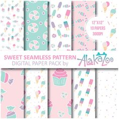 Sweet Seamless Pattern / Ice Cream / Cup Cake / by AlakazooDesigns