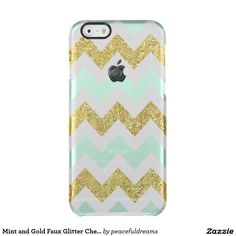 Mint and Gold Faux Glitter Chevron Uncommon Clearly™ Deflector iPhone 6 Case