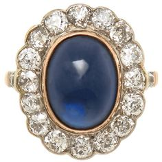 Russian Diamond and Sapphire Gold Ring, 1920 1