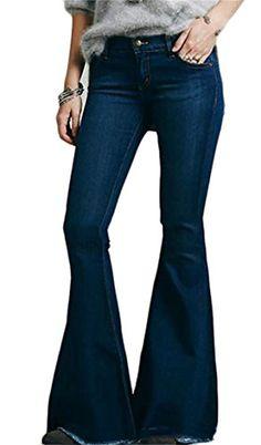 40a189056195 Oberora-Women Slim Fit Low Waist Wide Leg Bell-Bottoms Denim Long Pants