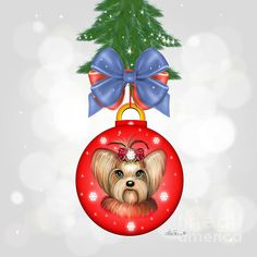 Yorkshire Terrier Christmas Ornament by Catia Cho.