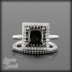 <3 LOVE!  Black Diamond Wedding Set with Princess Cut, double halo and half eternity Wedding Bands - LS831. $3,168.00, via Etsy.