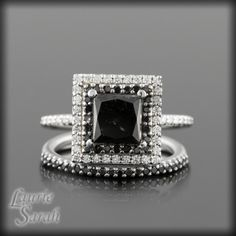 <3 LOVE!  Black Diamond Wedding Set with Princess Cut, double halo and half eternity Wedding Bands - LS831. $3,168.00, via Etsy.