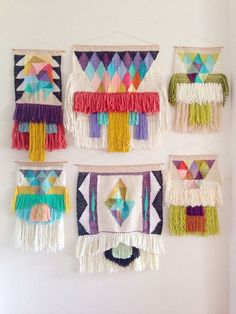 haven't been a huge fan of the woven wall hanging- despite my love of hippy craft. But these are just incredible! I'm feeling them.
