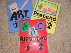Great idea from Me & Marie: Preschool Center Signs.  When a child wants to do a center, he/she puts their clothespin on the 1 or 2 spot.  When both are full, the center is full.