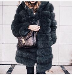 green fur and louis vuitton. glamour.