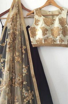 The Gold and Black Madison Lehenga Set - Daily Fashion Outfits Pakistani Dresses, Indian Dresses, Indian Outfits, Indian Attire, Indian Wear, India Fashion, Asian Fashion, Desi Clothes, Indian Clothes