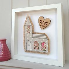 A hand embrodiered church picture framed with an engraved personal heart Fabric Cards, Fabric Gifts, Free Motion Embroidery, Free Machine Embroidery, Wedding Embroidery, Fabric Pictures, Box Frames, Collage Frames, Wedding Fabric