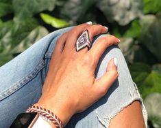 Anillo Miyuki Rombo Peyote Stitch, Beaded Rings, Jewelry Trends, Rings For Men, Beads, Collar, Canvas, Creative, Stud Earrings