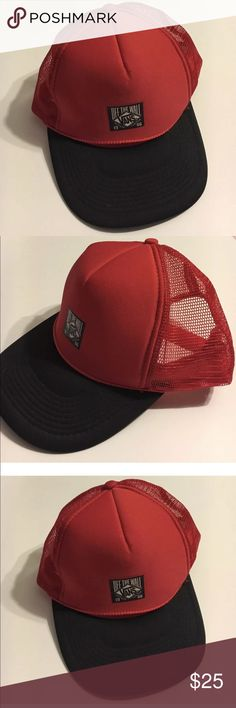 232ad090781 Vans Off The Wall Red Trucker Hat Adjustable Back Vans off the Wall Trucker  Hat.