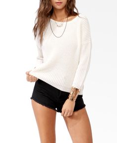Metallic-Blend Dropped Shoulder Sweater | FOREVER21 - SO CUTE! Lightweight and big<3