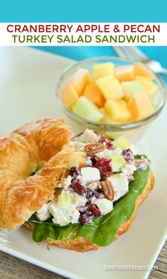 My favorite way to use up Thanksgiving leftovers - turkey salad sandwiches. I love the cranberries & apples in this recipe! View the full recipe in t. Mega Sandwich, Turkey Salad Sandwich, Soup And Sandwich, Cuban Sandwich, Sandwich Recipes, Leftover Turkey Recipes, Leftovers Recipes, Dinner Recipes, Thanksgiving Leftovers