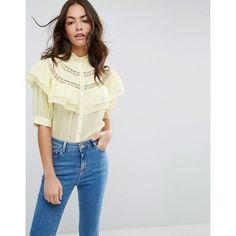 ASOS Short Sleeved Blouse with Ruffle and Lace Insert featuring polyvore women's fashion clothing tops blouses yellow ruffle top ruffle blouse short sleeve lace top shiny blouse short sleeve tops