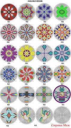Native American Beading Patterns Rosette Kit Fabric Native American Designs to make 25 dia 4 Native Beading Patterns, Beadwork Designs, Seed Bead Patterns, Peyote Patterns, Loom Patterns, Bag Patterns, Design Patterns, Pattern Ideas, Fabric Patterns