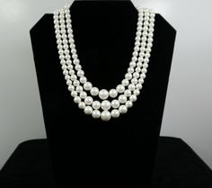 Triple Strand Graduated White Faux Pearl Necklace by KatsCache, $6.95