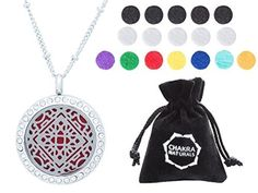 Aromatherapy Necklace -Mandala Design with Crystals -Essential Oils Diffuser Jewelry 25mm Diameter Surgical Stainless Steel Locket/ Pendant w/ 24 Chain+17 Aromatherapy Refill Pads -in Silver Color by Chakra Naturals -- Awesome products selected by Anna Churchill