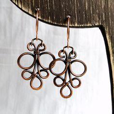 Wire Antiqued Copper Jewelry by KariLuJewelry