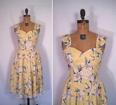 80er Jahre gelb floral print Sommerkleid • 80er Jahre tut 50er Jahre Blumen print Kleid • Jahrgang tropischen Sands Kleid