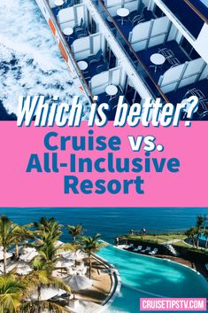 All inclusive resorts provide a great escape from the day to day routine, and are similar to cruise travel in many ways. While this comparison is meant to point out some of the differences between cruise vs all inclusive resort travel, we find that cruises and all inclusives typically have a lot in common.  #cruise #resort Best Cruise, Cruise Tips, Cruise Travel, All Inclusive Resorts, Hotels And Resorts, Pool Activities, Swim Up Bar, Water Aerobics, Free Vacations