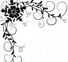 Png kawaii by miruscream on DeviantArt Arabesque, 3d Wallpaper Beautiful, Flower Boarders, Wedding Invitation Background, Wood Burning Patterns, Simple Flowers, Border Design, Illuminated Manuscript, Ribbon Embroidery