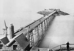 Birnbeck Pier 1870 this shows the pier soon after it opened. The Friends of the Old Pier Societ. builder Eugenius Birch opened in 1867, the only British pier that links the mainland with an island. closed to the public since 1994 and is included on the 'At Risk' Register compiled by English Heritage. purchased in 2006 by Manchester-based property development company Urban Splash -successful projects: the revamped Royal William Yard in Plymouth and The Rotunda in Birmingham Property Development Companies, Weston Super Mare, Forest Of Dean, Driveway Gate, English Heritage, Stoke On Trent, Somerset, Plymouth, Birmingham