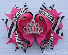 Pink Zebra Hair Bow for Birthday Princess with Taira Center on Etsy, $14.00