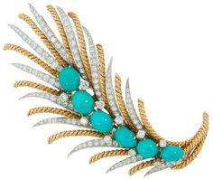 David Webb Platinum Yellow Gold Turquoise Diamond Feather Pin Brooch