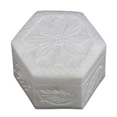 Marble Stoneware Carved Stone Decorative Box with Lid Handcrafted by Artisan, Set of 2