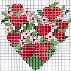 Çapraz Dikiş.  Çiçek kalpler .... Fotoğraf 10.