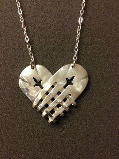 Collier coeur en argent fourche