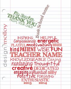 "This personalized teacher thank you gift will ensure your child is the 'apple of their teacher's eye"". This also makes an excellent retirement gift. Also available as a group gift (see example) - contact us for details."