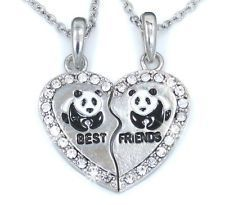 BEST FRIEND Heart Panda Silver Tone 2 Charms 2 Necklaces Crystal Friendship BFF