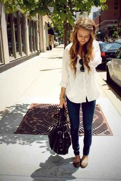 Simple Button Up. Skinny Jeans. Flats. Teen Fashion. By-Iheartfashion14   →follow←