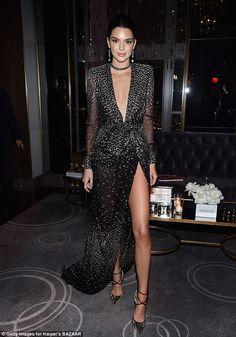 Kendall Jenner shows lots of leg Harper's Bazaar bash in New York #dailymail