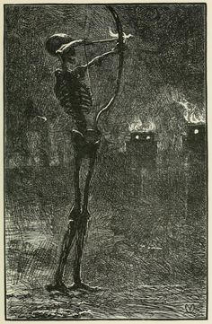 John Everett Millais - Death Dealing Arrows, From 'English illustration, 'the sixties' : by Gleeson White, published 1906 John Everett Millais, Gravure Illustration, Illustration Art, Art Zombie, Pre Raphaelite Brotherhood, Danse Macabre, Arte Horror, Vanitas, Memento Mori