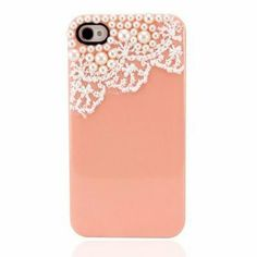 Amazon.com: eFuture Peach orange Hand Made Lace and Pearl Hard Case Cover fit for the new Iphone4 4s: Cell Phones & Accessories