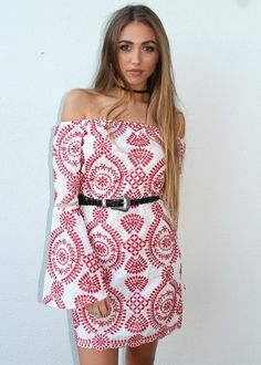 Cute Off The Shoulder DressBell SleeveRed and White PatternedCute StyleEasy Polyester Cold Hand WashThis look would look super fab matched with a Shine Necklace Coast Fashion, Patterned Dress, Sunshine Coast, Boutiques, Dress Patterns, Off The Shoulder, Red And White, Strapless Dress, Dresses