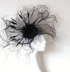 Black Fascinator Hat for Kentucky Derby, Ascot and Weddings