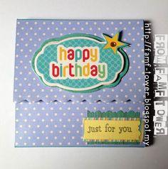 DIY Birthday Card. Handmade Birthday Card. Blue and polka dots.