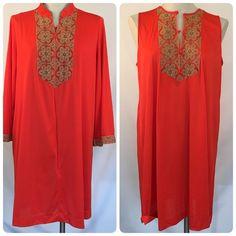 70s Gossard Artemis Women Nightgown Robe SZ L VTG Peignoir Set Orange Embroidery #Gossard